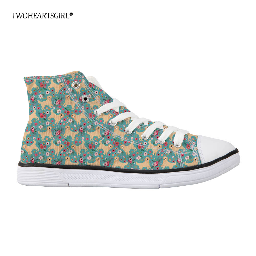 Twoheartsgirl Cute Golden Retriever Pattern High Top Canvas Shoes for Women Flat Casual Female Ladies Vulcanize Shoes Lace Up