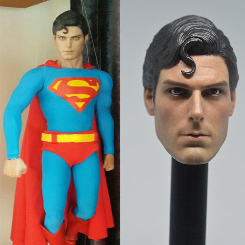 Unpainted 1//6 Scale Superman Christopher Reeve Head Sculpt for 12/'/' Figure Body