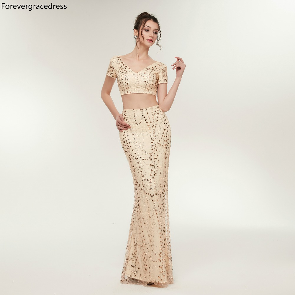 Forevergracedress Sexy Champagne Gold   Prom     Dresses   2019 High Quality Two Pieces Evening Party Gowns Plus Size Custom Made