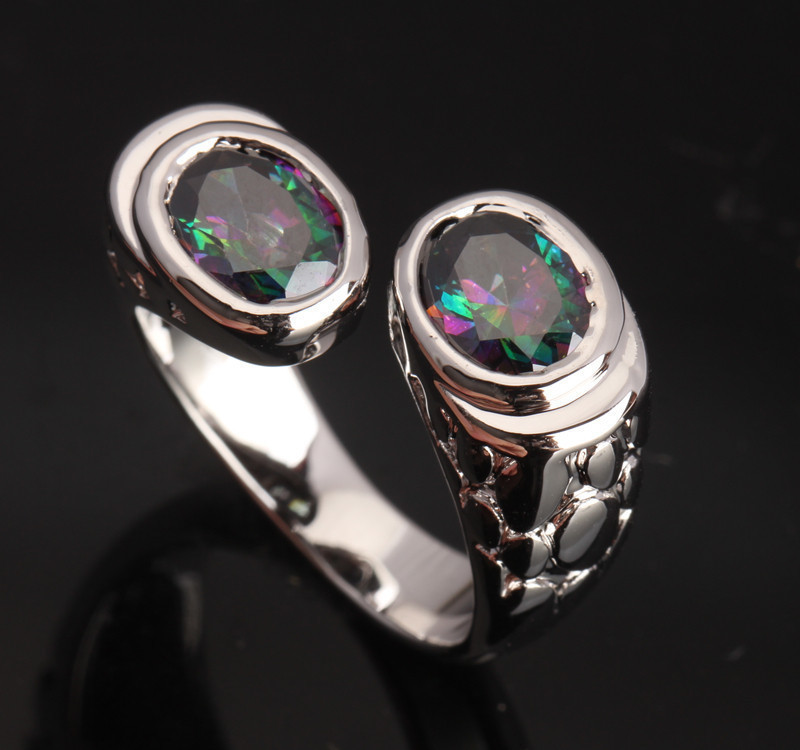 New Hot Sell ! Rainbow Mystic Jewelry Multicolor 925 Sterling Silver Fashion Overlay For Women Sales Size 5 6 7 8 S0161