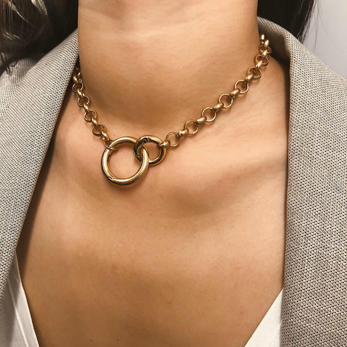 Punk Circle Choker Necklace Hip Hop Jewelry 2019 Fashion Statement Thick Chain Necklace Collier Ras Du Cou