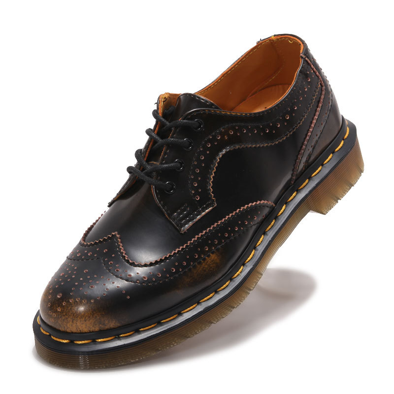 ФОТО 2017 New England Style Dr Designer 100% Genuine Leather Martin Shoes For Women Thick Heel Brogue Shoes Eur Size 36-44 Dr1461106