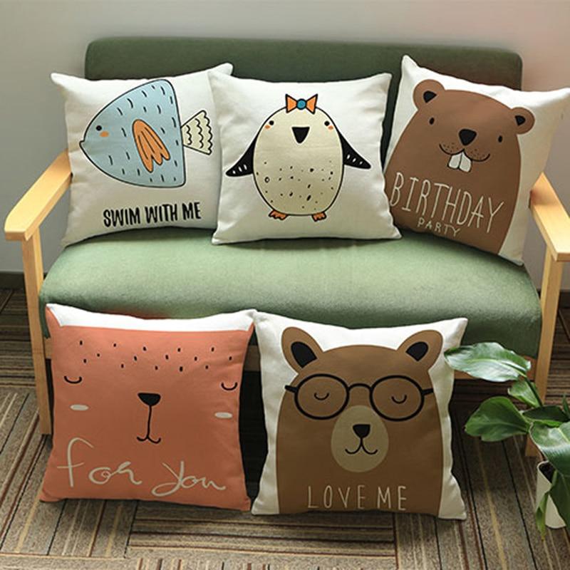 Cute cartoon animal 45*45cm Cotton Linen Throw Pillow Cushion Cover Car Home Decoration Sofa Decor Decorative Pillowcase