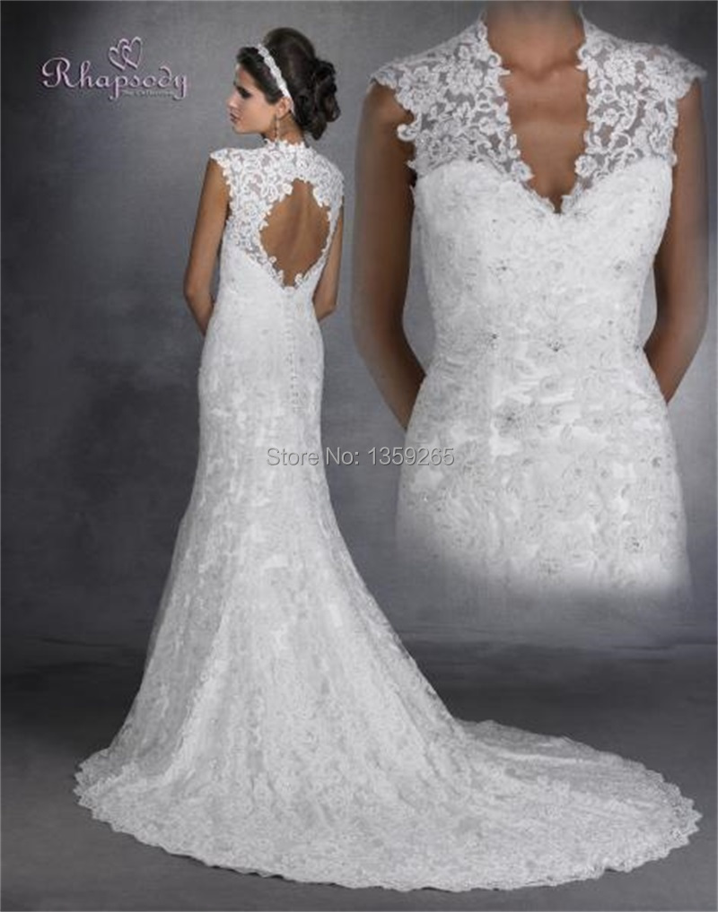 Online Shop Hot Sale 2014 Lace Wedding Gown With Cap Sleeve Cut Out Back Sheath Beading Vestidos De Noviaob Bridal Free Shipping FW2798