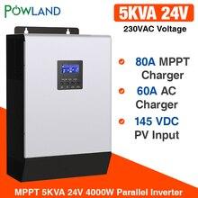 Inversor solar 4000w 5kva 80a mppt paralelo inversor 24v 220v onda senoidal pura inversor carregador de bateria 60a