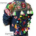 Natioanl tendência jaqueta jeans Primavera e No outono borla floral bordados feitos à mão bf tipo hiper boemia denim outerwear