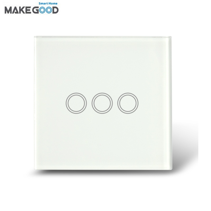 MakeGood UK Standard Touch Switch 3 Gang 1 Way Crystal Glass Panel Wall Switch for Smart Home AC110~240V + LED Indicator makegood uk standard 2 gang 1 way smart touch switch crystal glass panel wall switch ac 110 250v 1000w for light led indicator