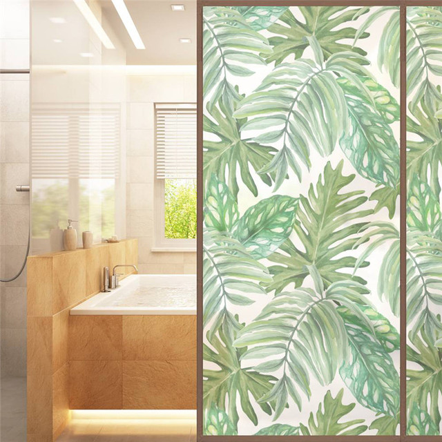 African Tropical Plant Printed Frosted Glass Window Stickers Sliding Door Bathroom  Window Decals Decoracion Removable Sticker