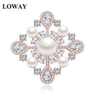 LOWAY Rose Gold Color Pearl Brooch Pins New Korean Fashion Elegant Scarf Buckle Diy Accessories Women Decorative HJ8059