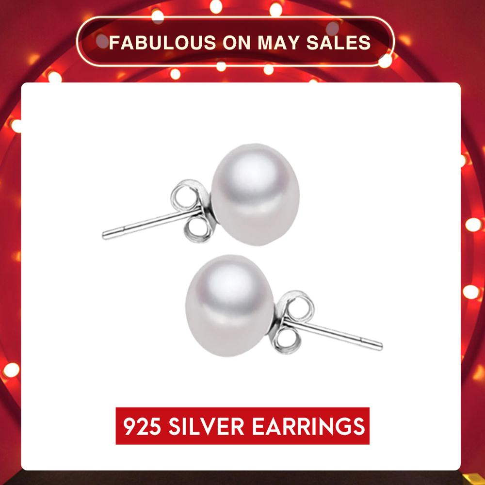 UMODE 8-9 mm 100% Natural Freshwater Pearl Earrings Jewelry 925 Sterling Silver Brincos Zircon Stud Earrings For Women AE0003