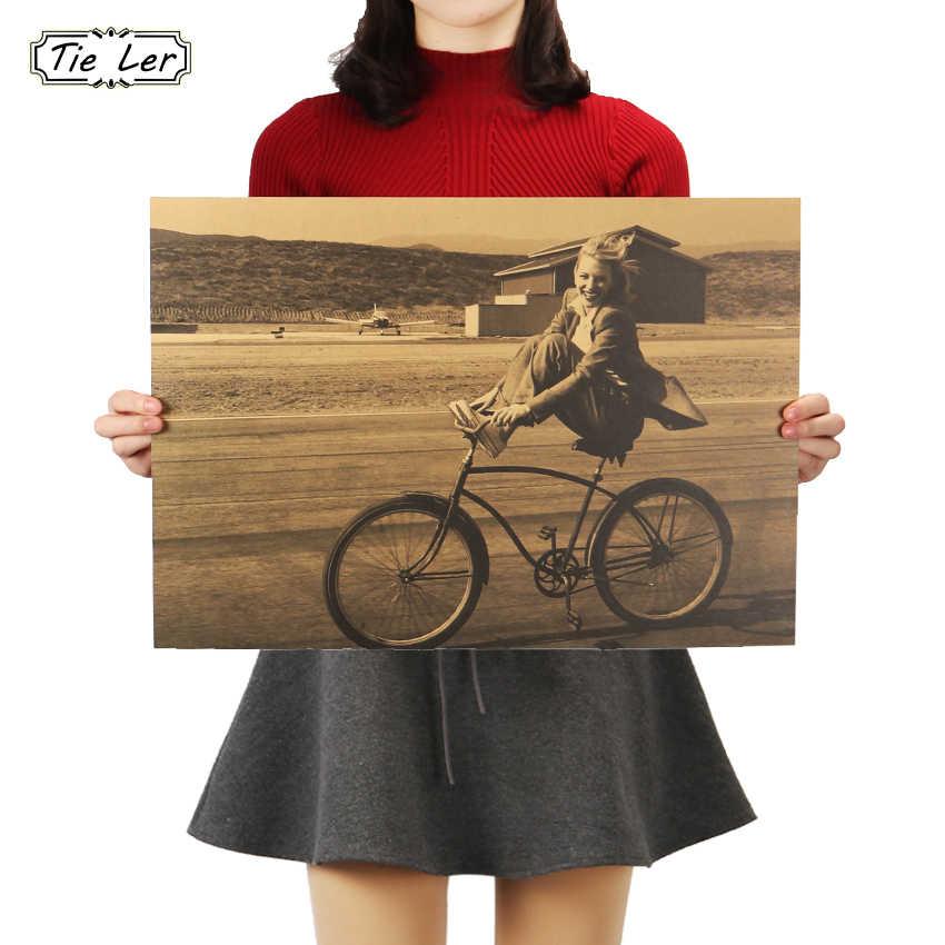 Kravat LER Retro bisiklet dekoratif boyama güzel kız Kraft kağıt afiş Bar Cafe ev duvar çıkartmaları 36X51.5cm