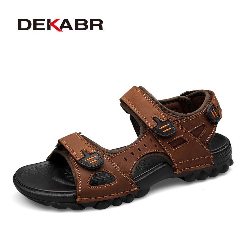 DEKABR Summer Genuine Leather Gladiator Men's Beach Shoes Sandals Outdoor Shoes Roman Men Casual Shoe Flip Flops Plus Size 38~48