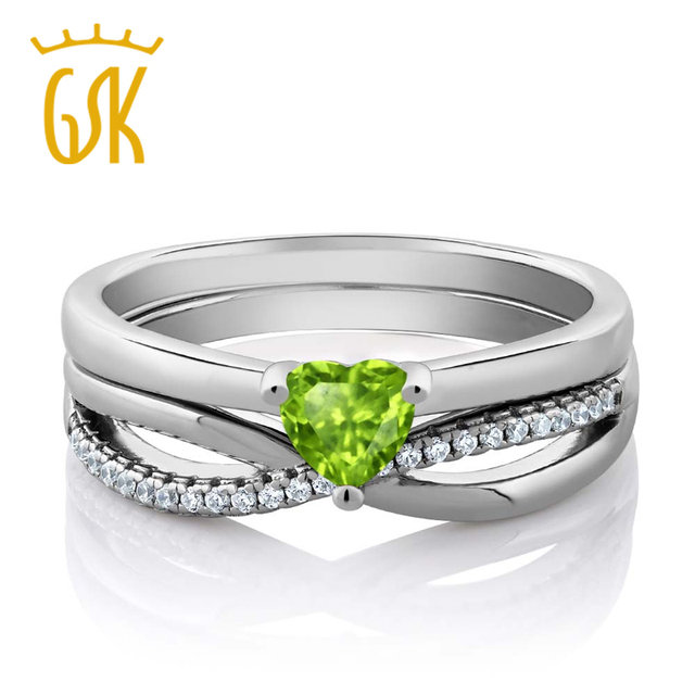 Gem Stone King 925 Sterling Silver Natural Green Peridot Engagement
