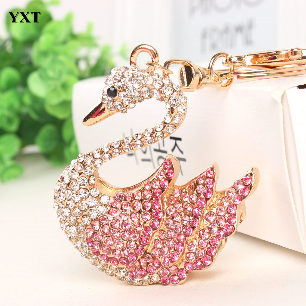 Swan Goose Keyring Charm Pendant Animal Lovely Rhinestone Crystals Purse Bag Key Chain Accessories Jewelry Gift High Quality