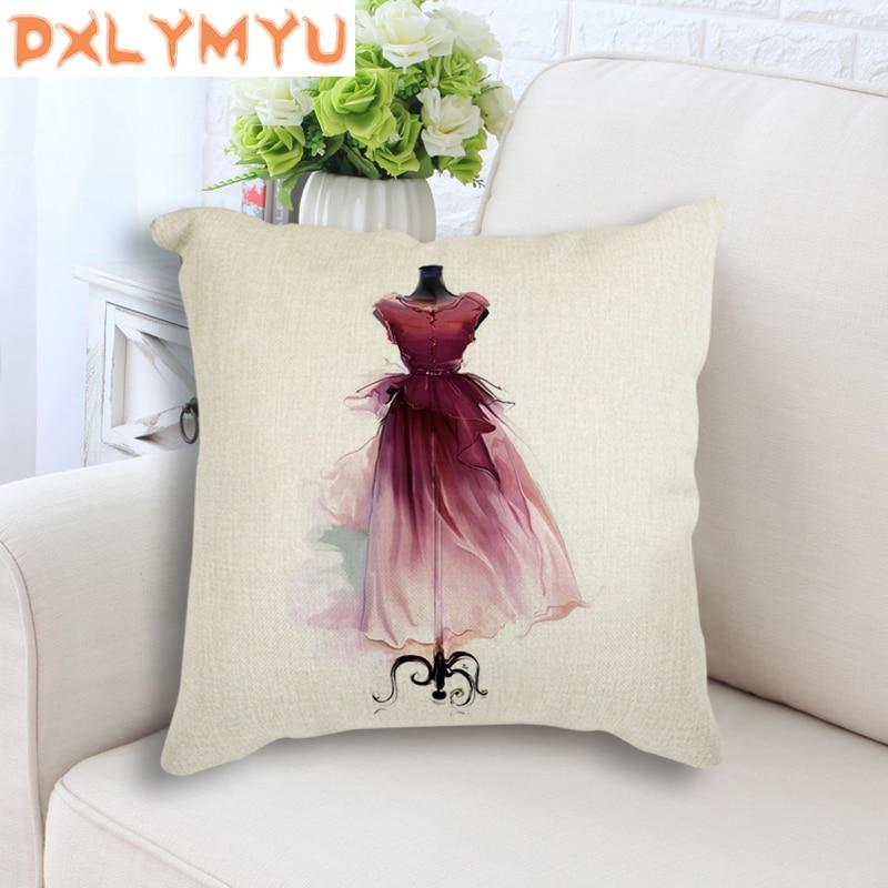 Linen Cotton Back Cushion Watercolor Vogue Girl Dress High Heels Nordic Posters Prints Cushion Throw Pillow Sofa Home Decor