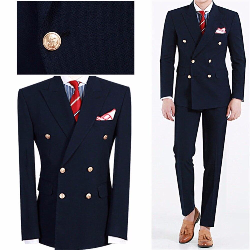 أحدث تصميم الأزياء terno masculino ذروته التلبيب مزدوج اعتلى الدعاوى البحرية الزرقاء 2 أجزاء (سترة + بانت)-في بدلة من ملابس الرجال على  مجموعة 1