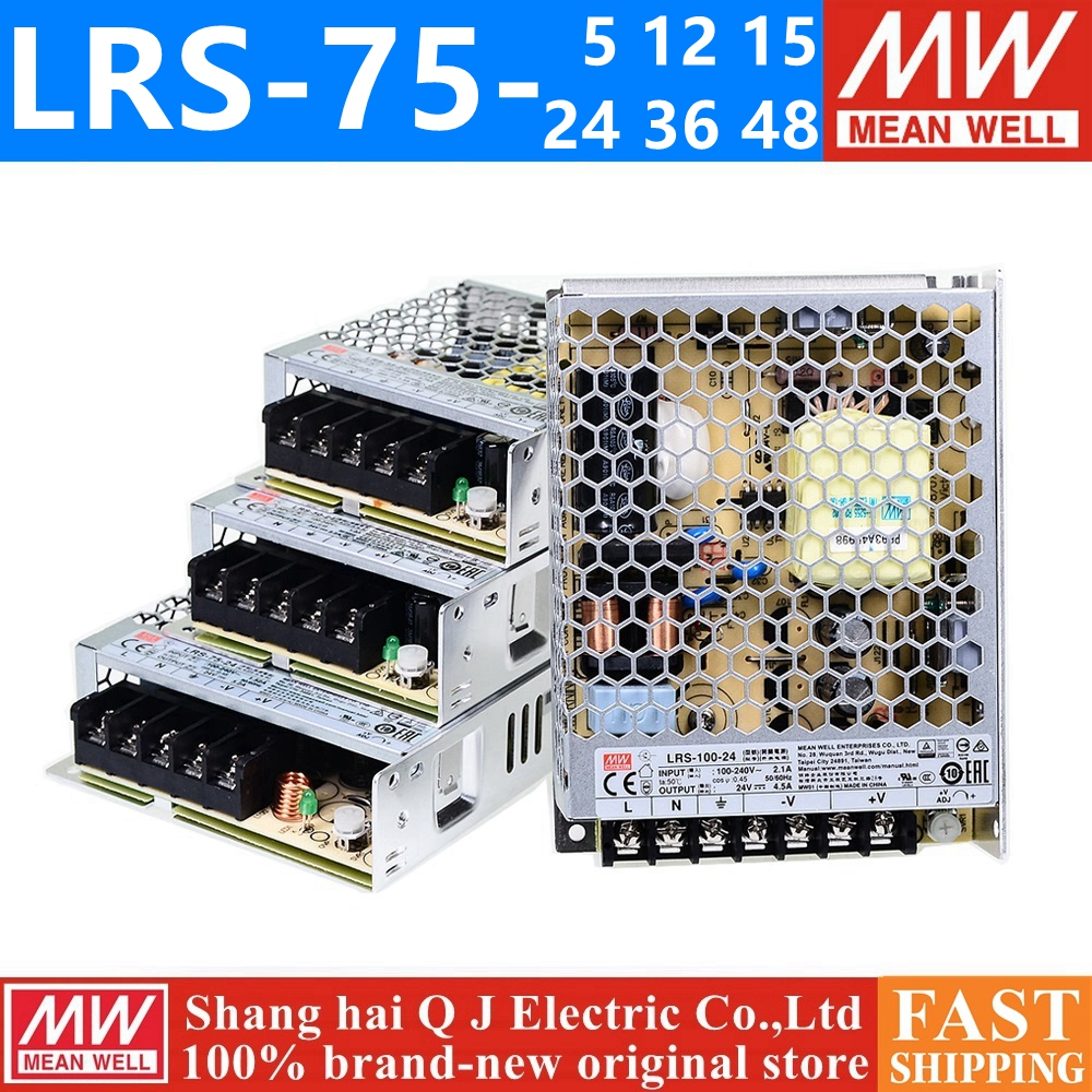 MEAN WELL LRS-75-12 5V 12V 15V 36V 48V meanwell LRS-75 <font><b>5</b></font> 12 <font><b>15</b></font> 24 36 48 V 75W Single Output Switching Power Supply image