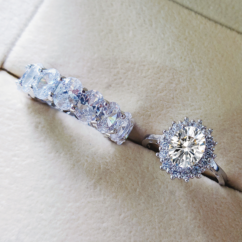 Moonso Real 925 bague de mariage ovale en argent Sterling pour femmes ensemble de fiançailles de luxe bande éternité bijoux zircone R5345S