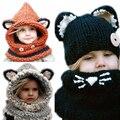 Lindo!! 2017 nuevo invierno fox sombrero del ganchillo niños gorros sombreros del bebé para las muchachas/de los muchachos de bebé caliente cap infantil para niños de punto thck sombrero