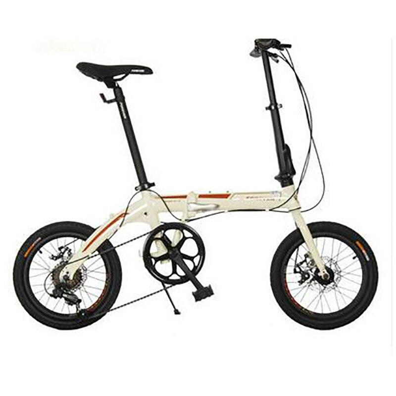 Vélo pliant en alliage d'aluminium matériel 16 pouces 7 vitesses en aluminium avant et arrière frein à disque