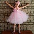 Muchachas de la princesa de la flor del tutú Casual rodilla longitud de flores del bebé lindo vestido para la fiesta de cumpleaños espectáculo fotografía PT152
