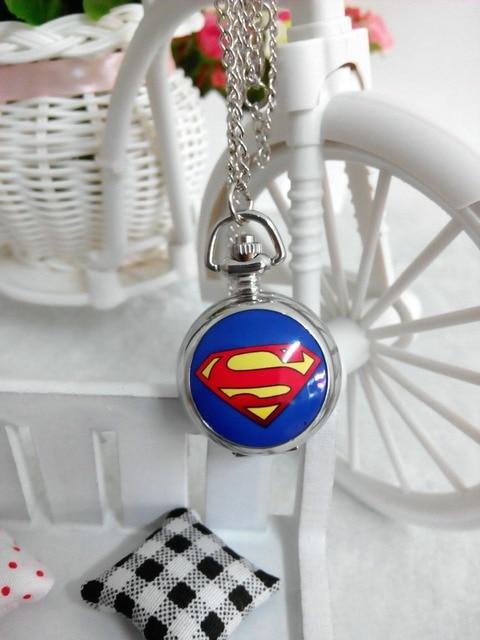 cute blue DC Superhero the superman Pocket Watch Necklace hour wholesale price g