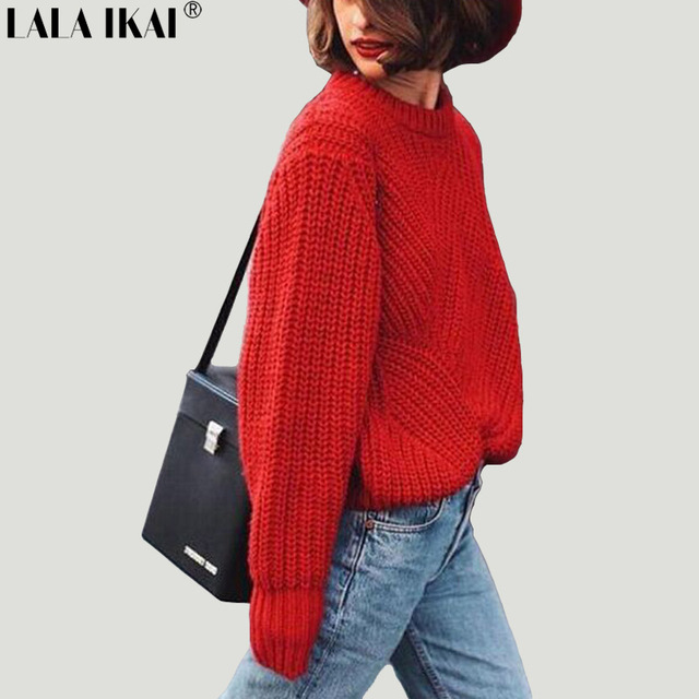 Vintage Winter Autumn Women Oversized Sweaters Pullover Casual Loose  Knitted Sweater Women Red Pullover Jumpers Mujer Wholesale