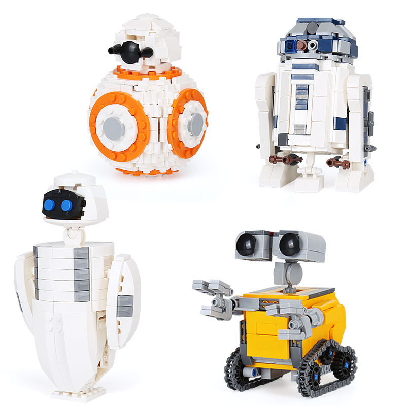 1074Pcs WallE Eva BB 8 R2D2 4 Robots In 1 Set STAR Movie WARS Building Blocks Toys DIY Kid's Christmas Gifts Fit Legoness Set