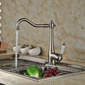 Brushed Nickel Ceramic Lever Long Swivel Spout Kitchen Sink Faucet Deck Mount Bathroom Kitchen Mixer Tap