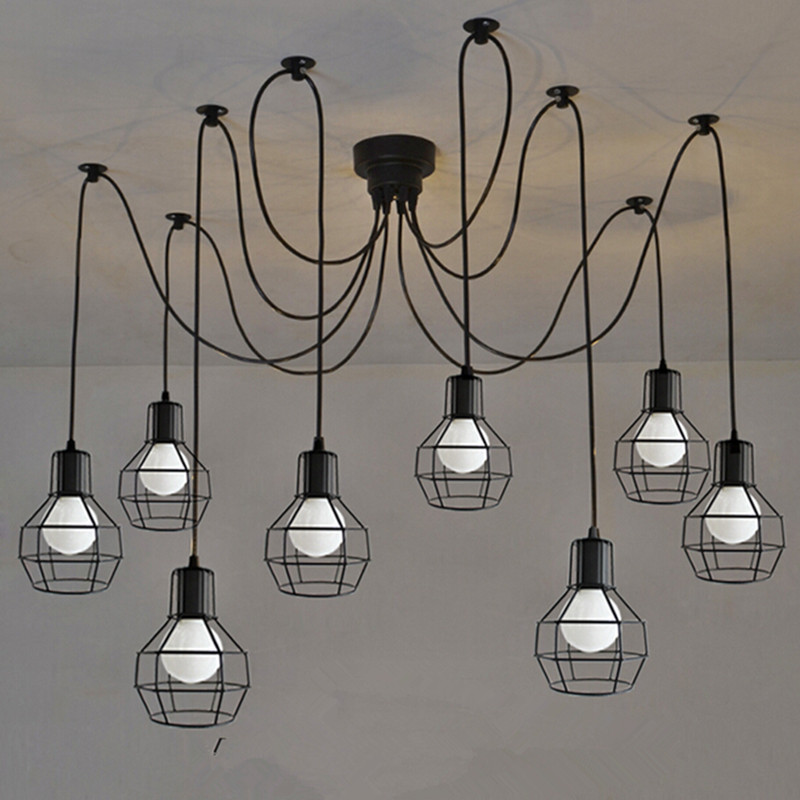 LOFT Vintage pendant light 6-12 heads lighting metal iron lamp LED blub bar sitting room decoration light fixture AC110-265v утюг hotpoint ariston ii c 50 aa0
