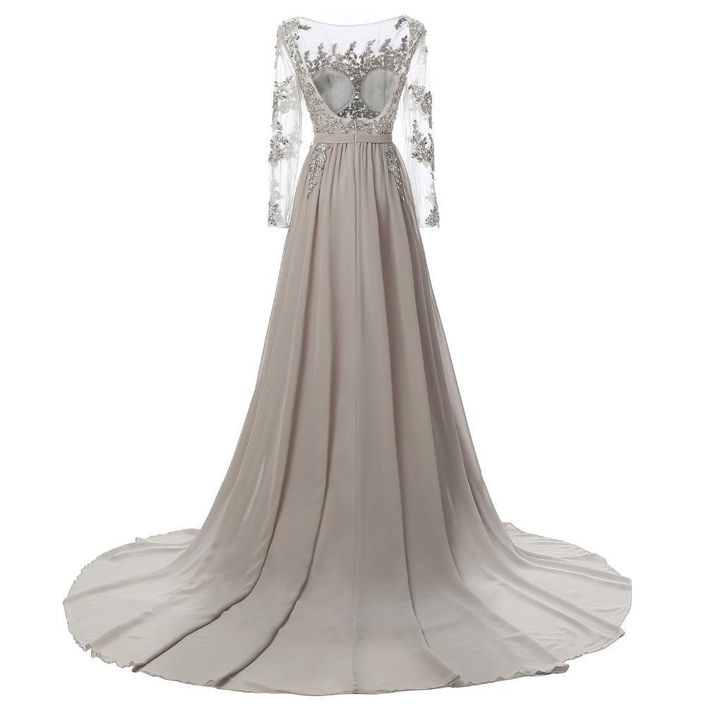 Echte foto lange mouwen formele avondjurk grijze elegante lange prom - Jurken voor bijzondere gelegenheden - Foto 3