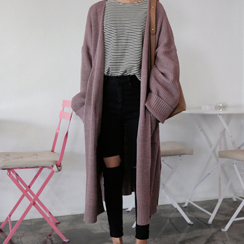 korean Long Cardigan Women Autumn 2017 Fashion Long Knitted Sweater Female Oversized Tops Fall Casual Black Coat Winter Clothing 1