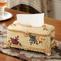 Ретро роскошь Европейский смолы ткани поле лоток насосных творческий украшения дома гостиная мебель коробка салфетки