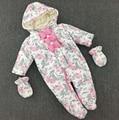 Frete Grátis! do Inverno do bebê Macacões + Luvas, meninas flor prints roupas quentes de alta qualidade crianças outwears 4 jogos/lote e401