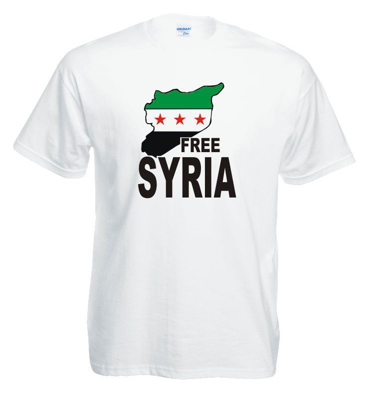 Free Shipping Mens New Fashion O-Neck Top Tee Free Syria T-Shirt 100% Cotone Activism Syrian Respect mens Tee shirt