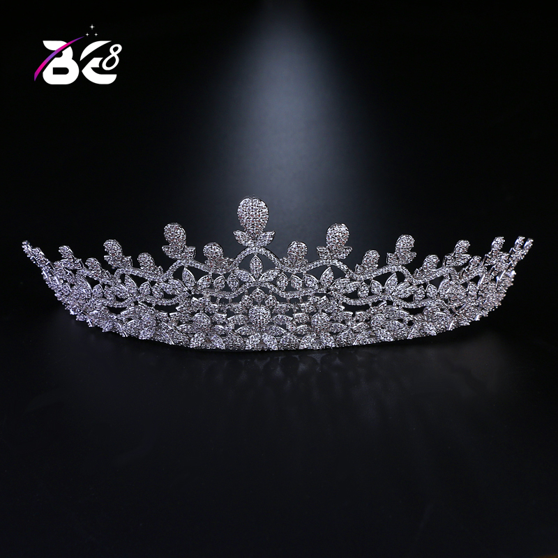 Be 8 New Flower Design AAA Cubic Zircon Crown and Tiaras Headband Noble Bridal Hair Accessories for Wedding Gift H078 flower design headband