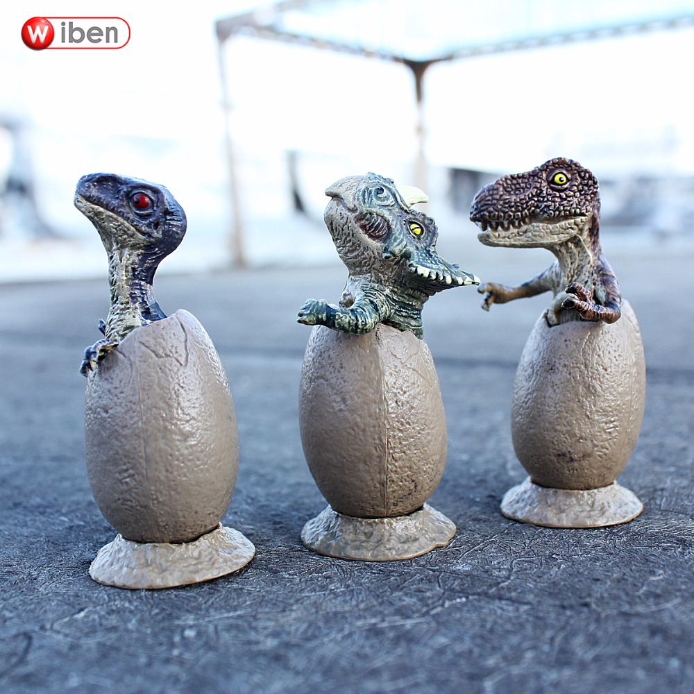 Wiben 3pcs Jurassic Triceratops Tyrannosaurus Rex Parasaurolophus Cub Model Dinosaur Toys Action Toy Figures  Collection Gift wiben animal hand puppet action