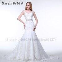 White Lace Mermaid Wedding Dress Robe De Mariee 2016 New Design Sheer Back Button Court Train