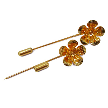 Gold Plated 100piece 50mm Sharp Tip Muslim Hijab Pins with 18x6mm Flower Caps Stick Brooches Safety Pins MHP48