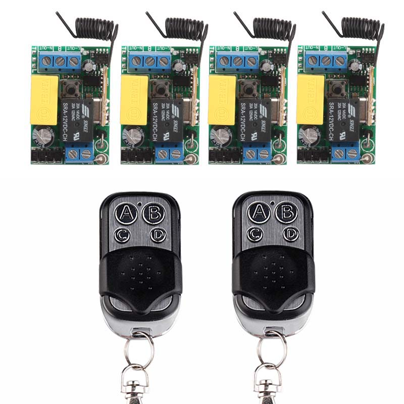 AC 220V 10A 1 CH RF Wireless Remote Control Switch System 2 X Transmitter + 4 X Receiver Learning Code 315/433 MHZ ac 220 v 1 ch wireless remote control switch system 4x transmitter with 2 buttons 1 x receiver light lamp ledon off 315 433mhz