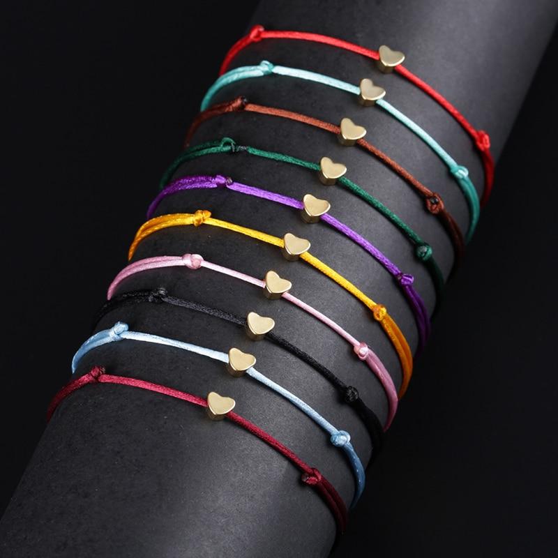 KEJIALAI Gold Color Heart Bracelet Silver Handmade Jewelry Multicolor Rope Adjustable String Lucky Bracelet For Women Children