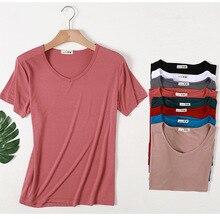 Базовая хлопковая Футболка с v-образным вырезом, простая женская футболка с коротким рукавом, женские футболки, топы, футболки D279