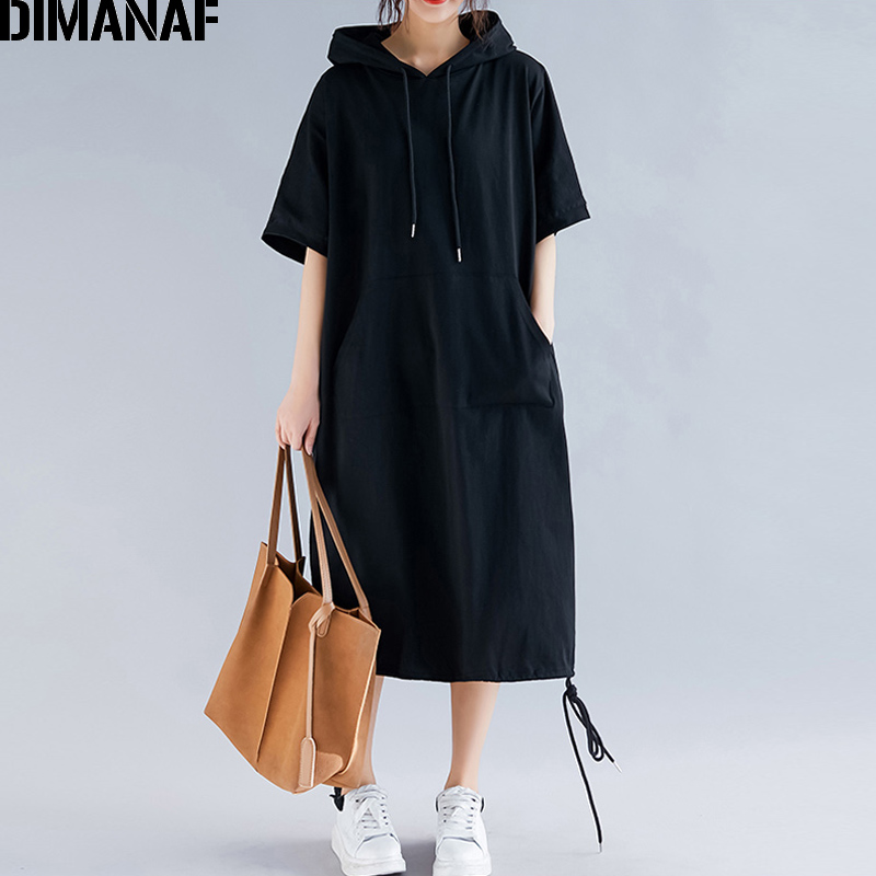 DIMANAF Plus Size Women Dress Summer Cotton Hooded Lady Vestidos Female Clothing Casual Loose Big Long Solid 5XL 6XL