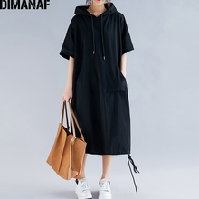 DIMANAF Plus Size Women Dress Summer Cotton Hooded Lady Vestidos Female Clothing Casual Loose Big Size Long Dress Solid 5XL 6XL