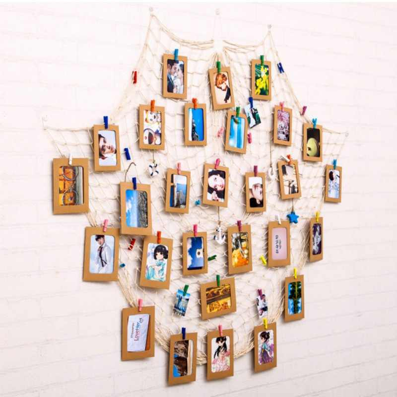 DIY Hanging Picture Photo Frame Display with Clip and Fishing Net Rope Wall Decor Props Wall Decor Photo Frame Set