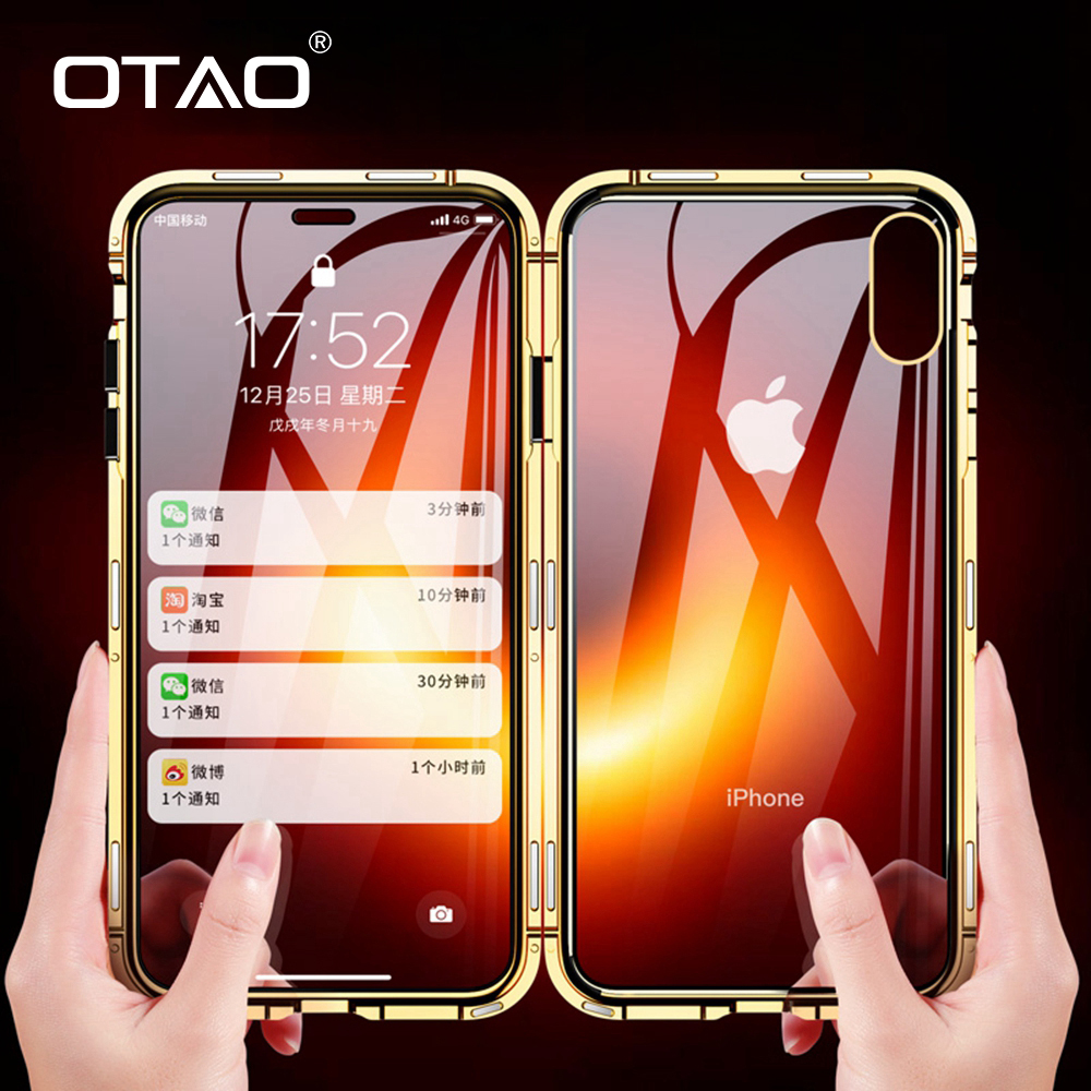 OTAO Double Sided Glass Magnet Case For iphone 7 8 Plus XS Max Xr X Metal Magnetic 360 degree Full Cover Case For iphone 6 Coque