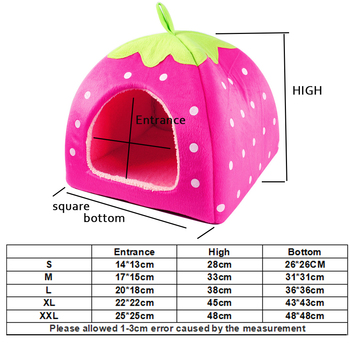 Treat Me,Fashion Soft Dog House,Strawberry Shape,Lovely Dog Bed,Warm Corduroy Cute Cat House,Pet Bed For Cat And Small Dogs 1