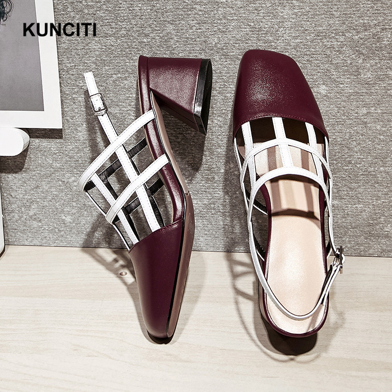 3147101c0 ... Designer Sandals Sandals Leather Out KUNCITI Rome Heel Match Shoes  Gladiator Chunky 2018 S46 Hollow High