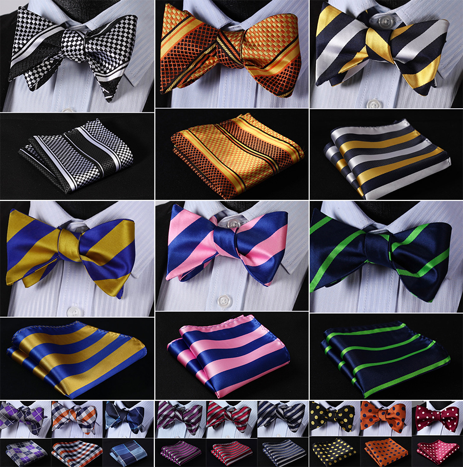 Striped 100%Silk Jacquard Woven Men Butterfly Self Bow Tie BowTie Pocket Square Handkerchief Hanky Suit Set #RS1