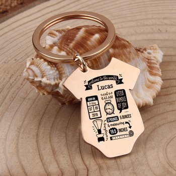 Gift Key Chain New Born Baby Souvenir Jewelry Baby Siamese shape First Mother's Father's day Gift Couple Anniversary Charm 2